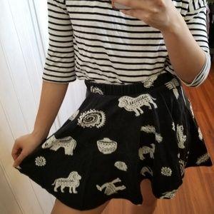 Black Animal Skirt